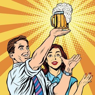 Triumph beer festival bar pub man and woman