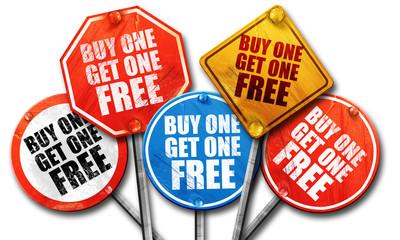 buy one get one free, 3D rendering, street signs