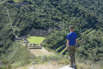Person and ancient ruins