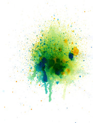 Abstract  watercolor palette of blue, yellow, green colors, mix