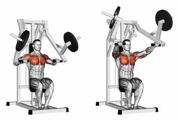 Press hammer strength gym simulator. Exercising for bodybuilding Target muscles are marked in red. 3D illustration