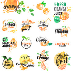 Set of hand drawn watercolor labels and signs of orange juice and smoothies. Vector illustrations for graphic and web design, for restaurant and bar, menu.