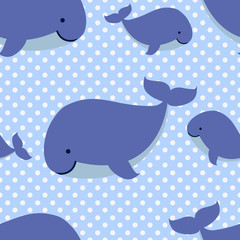 Seamless pattern with cute cartoon whales on blue dotted background.