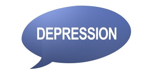 Depression speech bubble with text on a white background