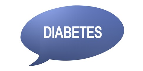 Diabetes speech bubble with text on a white background