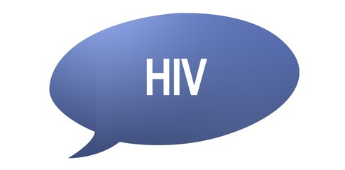 HIV speech bubble with text on a white background