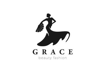 Dancing Woman Logo Fashion Beauty grace vector Negative space
