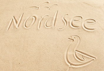 Nordsee and seagull drawn in beach sand