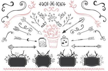 Hand drawn flourishes garden set. Vector design elements
