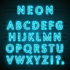 Neon font text. blue english Lamp. Alphabet . Vector illustration