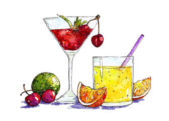 Watercolor illustration of cocktails and fruits