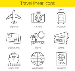 Travelling linear icons set