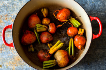 Beetroots in saucepan