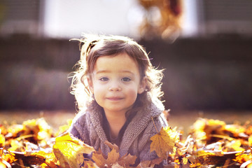 Small girl (2-3) on pile of leaves in autumn