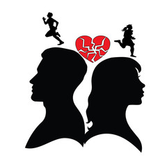 Psychology of relations. Family and relationship problems. Silhouette of man and woman. Divorce , broken family and broken heart. Different interests.