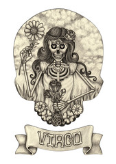 Zodiac Skull Virgo.Hand pencil drawing on paper.