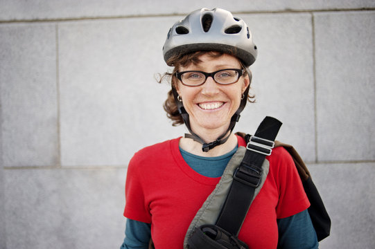 Portrait of female cyclist