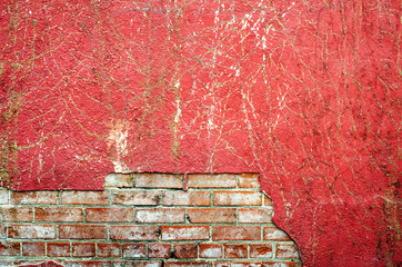 Damaged red wall