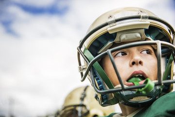 Close up american football player