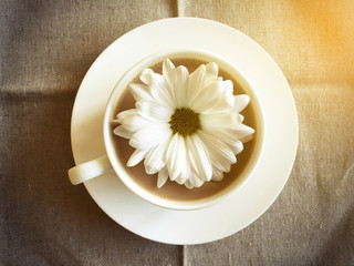 coffee cup on table with white daisy retro style