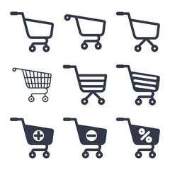 shopping cart icons vector set