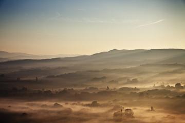 Fog on mountain range