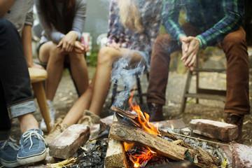 Low section of friends sitting near bonfire