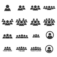 people icon  silhouette vector set