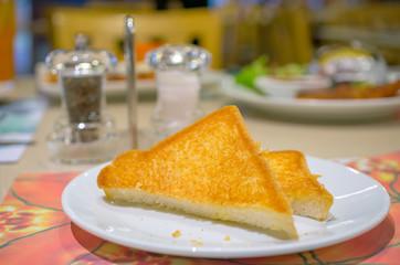 Toast on plate.