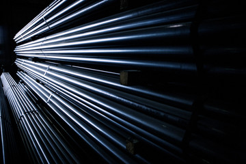Bunches of metal rods in factory