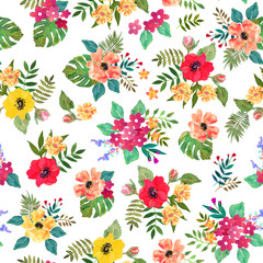 Seamless floral  background. Isolated colorful flowers and leave