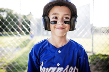 Close up of little baseball player