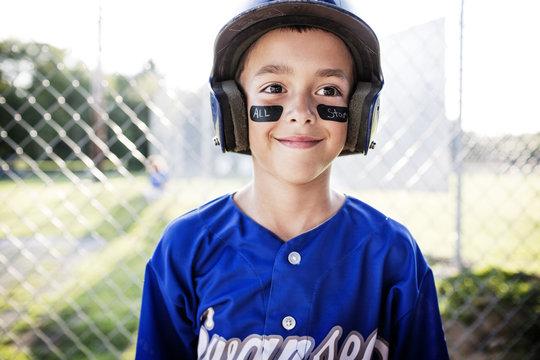 Close up of little baseball player
