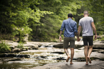 Rear view of homosexual couple holding hands while walking in forest