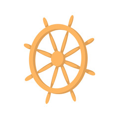 Wooden ship wheel icon, cartoon style