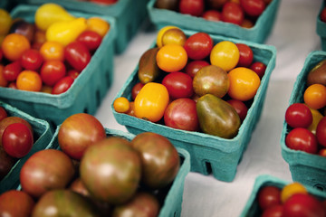 High angle view of tomatoes in blue containers for sale at market