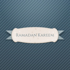 Ramadan Kareem textile Banner with greeting Ribbon