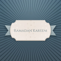 Ramadan Kareem textile Card with greeting Ribbon
