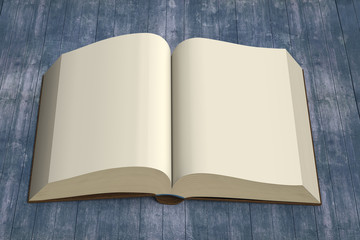 Front view opening book on vintage wooden background, 3D renderi