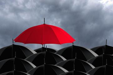 Red umbrella in Storm.