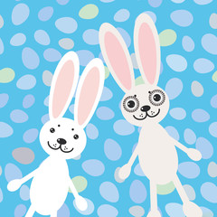 Happy Easter rabbits on blue background card design. vector