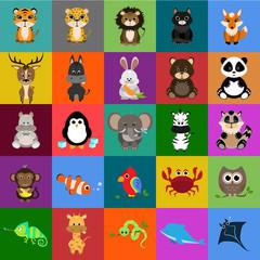 animals flat icons set