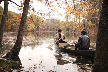 Friends rowing boat on lake amidst trees at forest