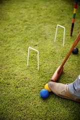 Cropped image of man playing croquet on grassy field