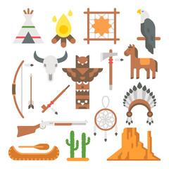Flat design native americans items set