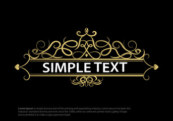 Wicker lines and old decor elements in vector.Vintage gold frame