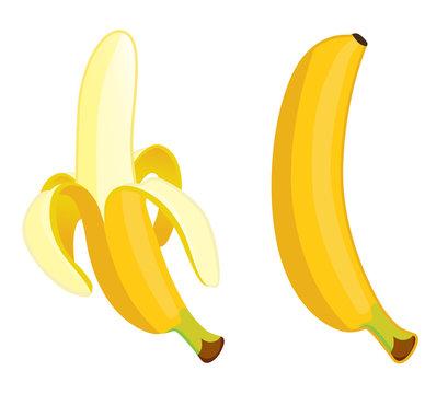 Yellow banana . Vector illustration