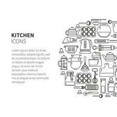 Linear icons kitchen form circle