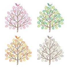 春、夏、秋、冬 季節で違う色合いの木と鳥