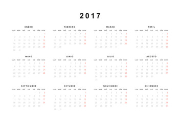 Simple modern calendar 2017 in Spanish. Template with a calendar for 2017 for design. Week starts from sunday